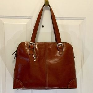 Brown Leather FOSSIL Laptop Bag/Briefcase EUC